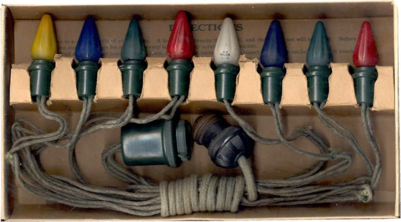 Vintage Light Set, in 1919 - A Brief History Of Holiday Lights Holiday Bright Lights